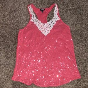 Coral sequin tank